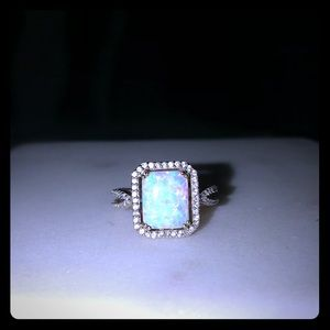 Opal and White Sapphire Ring in Sterling Silver
